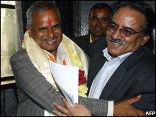 Maoist leader Prachanda (right) with Ram Baran Yadav