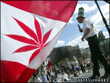 Man addresses rally in 2004 calling for cannabis to be legalised in Canada