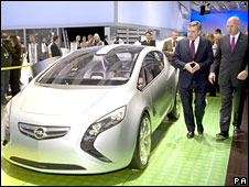 Prime Minister Gordon Brown is shown the latest model hybrid Vauxhall at the British International Motor Show 2008