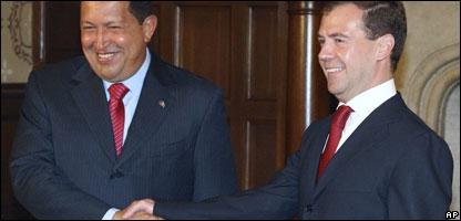 Los presidentes de Venezuela, Hugo Chávez, y de Rusia, Dmitry Medvedev