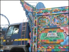 A colourfully painted truck in Afghanistan
