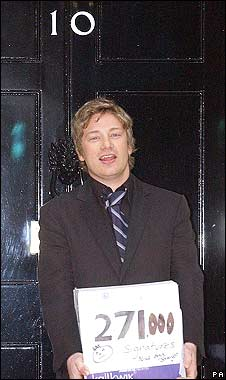Jamie Oliver delivers a petition to 10 Downing Street