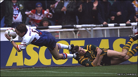 Jonathan Davies scores a memorable try for Great Britain against Australia at Wembley in 1994