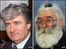 Radovan Karadzic in 1992 (left) and in a recent photo released on 22 July 2008