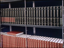 Copies of Encyclopaedia Britannica on a shelf