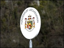 A sign with the emblem of the Principality of Liechtenstein