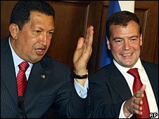 Hugo Chavez (left) and Dmitry Medvedev at the Meiendorf Castle outside Moscow, 22 July 2008