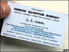 Karadzic's business card under his pseudonym Dragan David