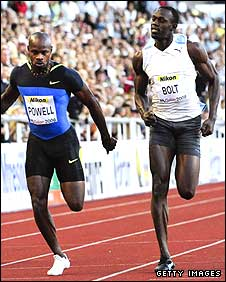Asafa Powell (left) beats Usain Bolt in the 100m in Stockholm