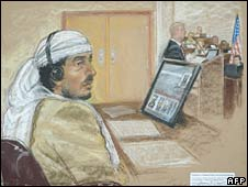 Sketch of Salim Hamdan by courtroom artist Janet Hamlin, reviewed by the US Military