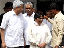 Prakash Karat, Mayawati and Chandrababu Naidu in Delhi on 20 July 2008