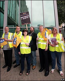 Staff picketing outside the London office