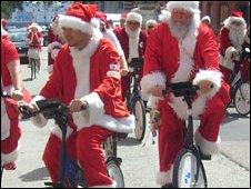 Cycling Santas