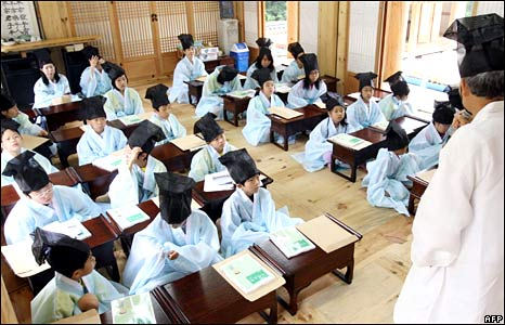 South Korean students in traditional school uniforms
