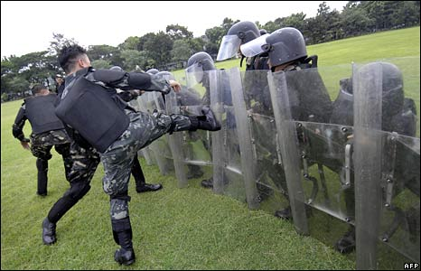 The Philippines military drills in Manila