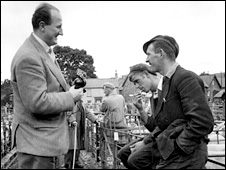Shepherd being interviewed at Rhayader in 1955