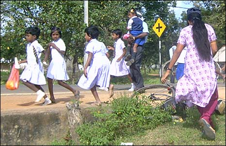 Children run for shelter