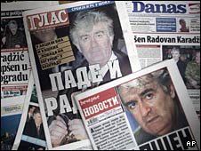 Serbian newspaper front pages display pictures of Radovan Karadzic