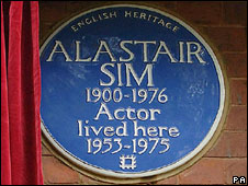 Blue plaque for actor Alastair Sim