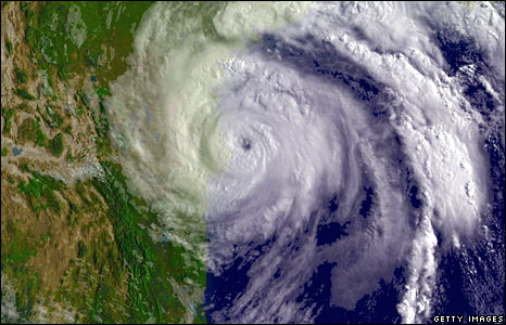 Satellite image provided by the National Oceanic and Atmospheric Administration shows Hurricane Dolly moves towards the Texas-Mexico border, 23 July 2008