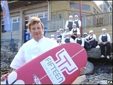 Jamie Oliver outside Fifteen restaurant, Cornwall