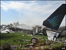 The wreckage of a Garuda airliner (07/03/07)