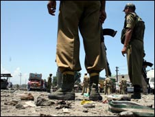 Soldiers at the scene of the blast