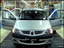 Renault Logan on the production line at a factory in Tehran