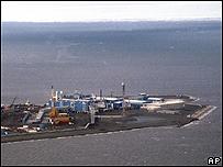 Plataforma de explotaci�n petrolera en el Oc�ano �rtico, cerca de Alaska.