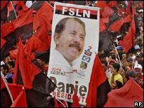 Partidarios de Daniel Ortega en celebración de aniversario sandinista