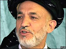 Hamid Karzai in Afghanistan's Nangarhar province on 17 July 2008