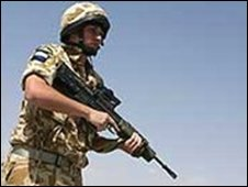 A British soldier from 16 Air Assault Brigade in Helmand province, Afghanistan