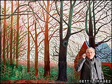 David Hockney stands by his painting Bigger Trees Near Water
