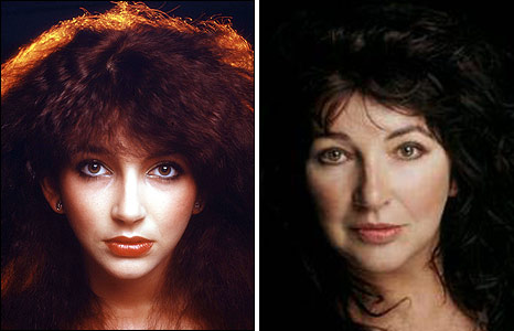 Kate Bush in the late 1970s and in 2005