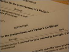 Pedlar licence forms