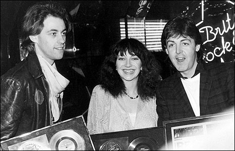 Kate Bush with Bob Geldof and Paul McCartney at the 1980 British Rock and Pop Awards