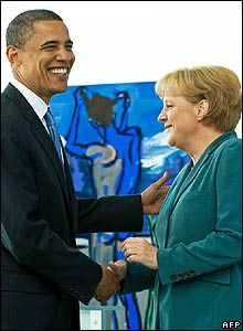 Barack Obama and Angela Merkel in Berlin
