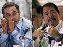 Álvaro Uribe (izq) y Daniel Ortega (foto de archivo)