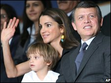 Queen Rania of Jordan with King Abdullah and their younger son