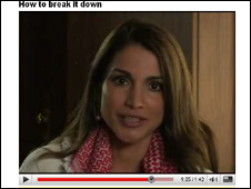 Screen grab of Queen Rania's YouTube V-log
