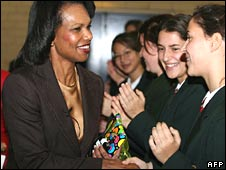 Condoleezza Rice meets schoolgirls in Perth, Australia on Friday