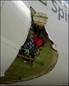 Hole in side of plane