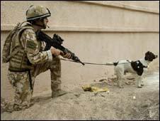Army dog handler and dog