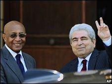 Cypriot President Dimitris Christofias (r) gestures next to UN special representative to Cyprus Taye-Brook Zerihoun