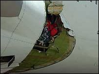 Hole in Qantas plane