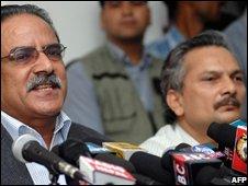 Maoist leader Prachanda (L) and Second-in-Command Baburam Bhattarai