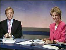 Jill Dando and Nicholas Witchell presenting Breakfast News in 1989
