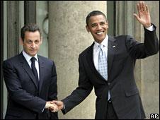 Nicolas Sarkozy, left, and Barack Obama at the Elysee Palace in Paris, 25 July 2008