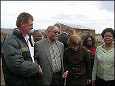 ANC President Jacob Zuma visits Bethlehem white settlement near Pretoria (July 24, 2008)