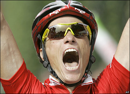 Chavanel celebrates his first ever victory in the Tour